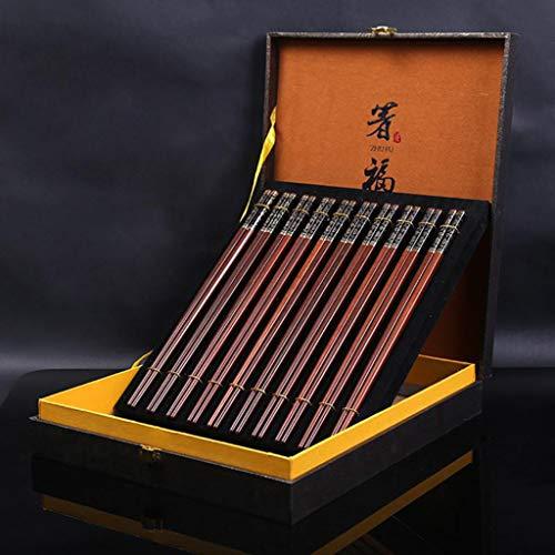JUSANU Cabeza de Metal Palillos artesanales Palos de sándalo Rojo Pulido Set Vajilla de Regalo Cubiertos Personalizados Caja de Regalo Set Caja de Regalo Estilo Chino