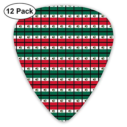 Flag of Mexico Guitar Picks 12 Pack Universal Plastic Celluloid Medium in A Box Best Gift