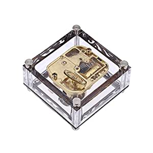 Andoer Acrylique Cubique de Musique Box Windup Boîte à Musique avec les Patrons sur les Notes 18 Or Mouvement Château Melody dans le Ciel