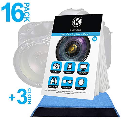 Camkix Linsenreinigungspapier 16x Heftchen / 800 Blatt + 3x Doppelseitiges Reinigungstuch - Linsenreinigungspapier für die Verwendung mit Kameraobjektiven - Doppelseitiges Reinigungstuch