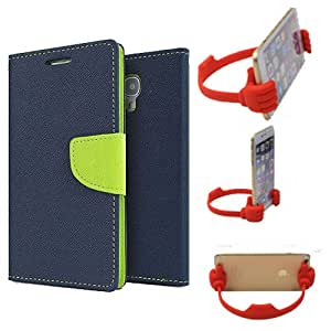 Aart Fancy Diary Card Wallet Flip Case Back Cover For Lenovo A2010 - (Blue) + Flexible Portable Mount Cradle Thumb Ok Stand Holder By Aart store