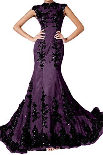 ivyd ressing Femme élégant motif dentelle Mermaid longue mousseline Lave-vaisselle robe robe du soir - Traube