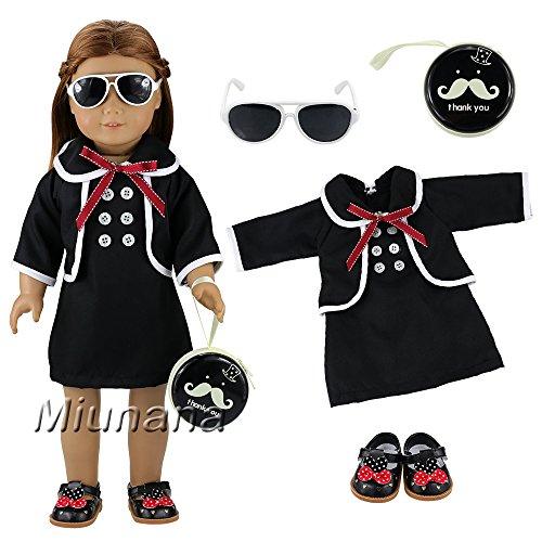 Miunana Sets Kleidung Dress Kleider mit Brille Tasche Schuhe für 46cm puppe 18 Inch American Girl Dolls puppe Stehpuppe Süß Puppenbekleidung