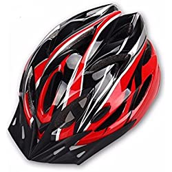 Hoovo Casco de Bicicleta con Ajustable Ligero Casco de Bicicleta de Montaña Racing breezier para Hombres y Mujeres (Rojo)
