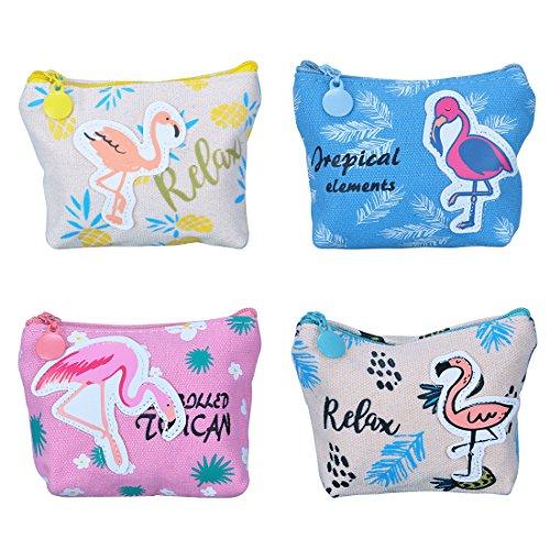 Oyachic Münzbörsen 4 Stück Münzbeutel Täschchen Portemonnaie Geldbeutel Coin Purse Pouch Wallet Münzen Geldbörse Geldtasche Reißverschluss Münze beutel Geschenk für Damen Mädchen (Bunt Flamingo)