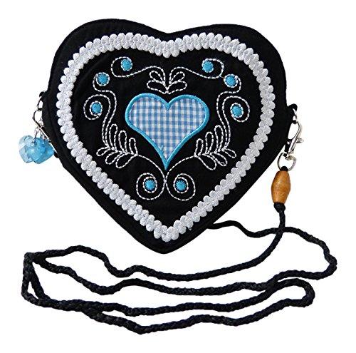 Damen Dirndl Handtasche Herz Umhängetasche - Herztasche (Herzmuster türkis (schwarz))