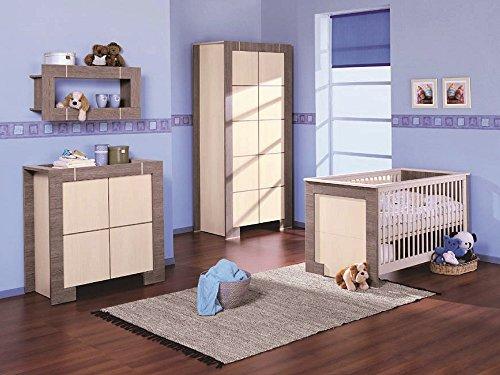 Babyzimmer Kinderzimmer NEW GENERATION Eiche Grau & Creme Babymöbel Set 4tlg komplett Kleiderschrank 3-türig Babybett Wickelkommode Wandregal