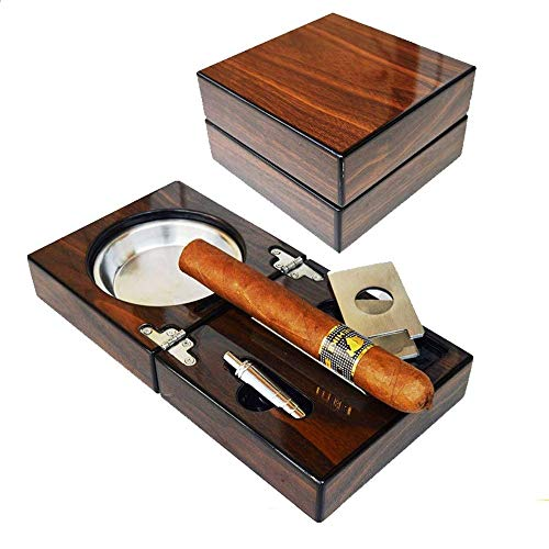 Cenicero madera nogal cigarros escritorio, plegable