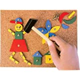 Tap Tap Art Cork Board Wooden Pieces Hammer and Nail