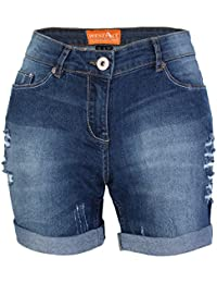 westAce Damen Jeans Shorts mit Destroyed-Optik Boyfriend Stretch Denim  Kurze Hose a897d5f8b5