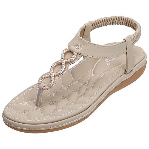SANMIO Damen Sandals, Frauen Sandalen Sommer Bohemian Strass Flach Sandaletten PU Leder Zehentrenner Beige 40