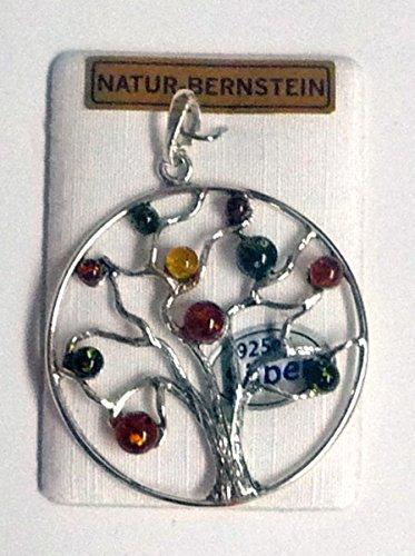 Anhänger,Lebensbaum,Silber mit Bernstein,auf Karte,Dm. ca.4 cm