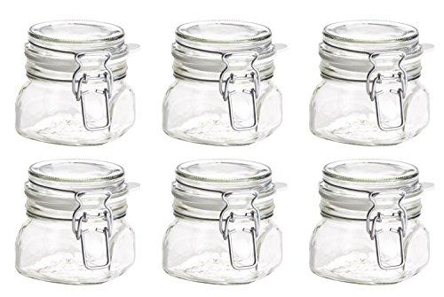 MÄSER Serie Gothika, Einmachglas 300 ml, Vorratsgläser mit Bügelverschluss, Einsiedegläser im 6er-Set