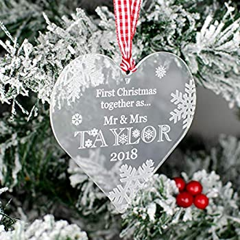 Christmas Heart Decoration.Personalised Acrylic Heart Christmas Tree Decoration Our First Christmas Bauble Gift