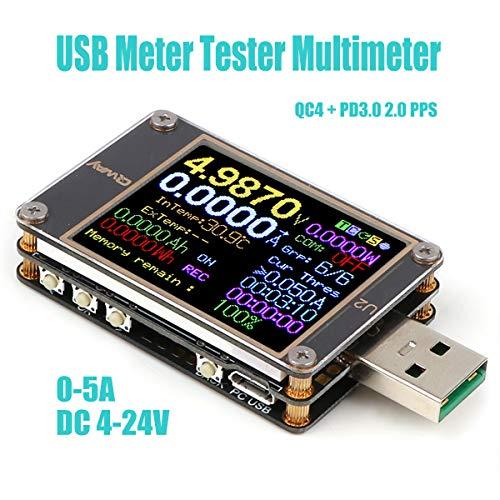 USB Meter Tester USB-Multimeter Spannungstester DC 4~24V 5A Digitale Stromzähler Widerstand Detektor-Farb-Display Stromkapazität Ladegerät Energielastmessung PD QC 2.0/3.0