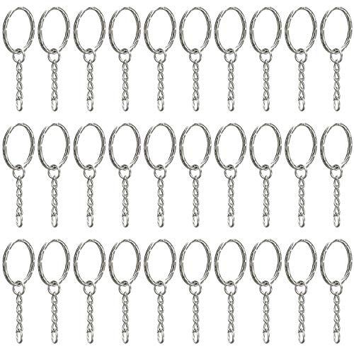 Trixes Packung mit 30 Stück 2,5 cm grossen Schlüsselringen Auswechselbare runde Schlüsselanhänger - Silberne Farbe für Schlüssel Handwerk DIY