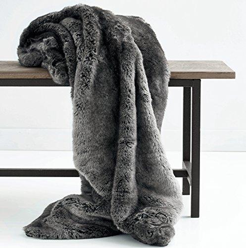 Luxus Kunstfell Übergroße Überwurf Decke mit Plüsch Samt Rückseite, Fox Lynx oder grau Mink Modern Midnight X-long
