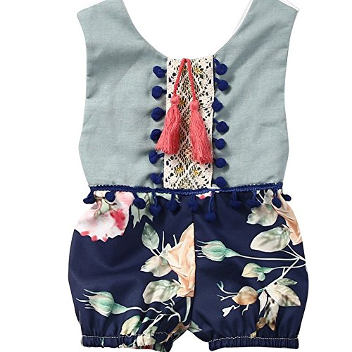 Sommer Sleeveless Mädchen Overall Blumen Kleidung Outfits (3 monthes-24 months) By JYJM (9 Monate, Blau)
