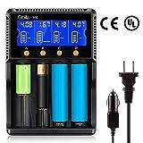 Akku Ladegerät Universal Batterieladegerät mit 4 Slot LCD Bildschirm Akku Ladestation für LiFePO4 Li-ion 18650 NI-MH NiCd