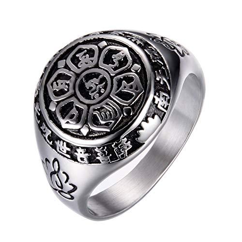 PAMTIER Herren und Damen Edelstahl Retro Heilige Flamme sechs Wort Mantra Lotus Sanskrit Ring Silber Größe 65 (20.7)