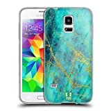 Head Case Designs Wasserfarbe Marmor Glitzer Druecke Soft Gel Hülle für Samsung Galaxy S5 Mini