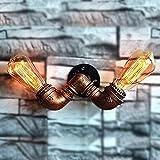 HAIZHEN 2 - Leuchtet, Vintage Schmiedeeisen Rohr Wandleuchte Restaurant American Bar Cafe Creative Wandleuchten Wandleuchte Wandleuchte Schlafzimmer Bett Laufsteg Wand Leuchten (Ohne Leuchtmittel)