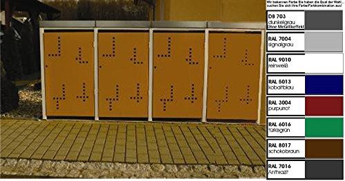Metall Mülltonnenbox für 4 Tonnen, Müllcontainer, Müllbox. Made in Germany. # Größe: Für 4 Tonnen bis 240 l # Farbe: Farbenauswahl per EMail angeben # Dach: Mit Pflanzwanne # Stanzung: Serie