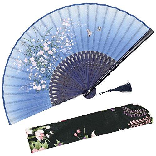 OMyTea - 'Grassflower', Faltbarer Handfächer für Frauen. Japanischer/ Chinesischer Retrostil. Mit Schutzbeutel aus Stoff. blau