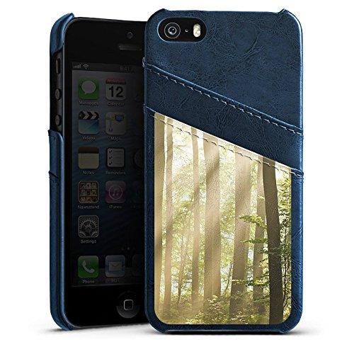 Apple iPhone 5s Housse Étui Protection Coque Forêt Clairière Rayons de soleil Étui en cuir bleu marine