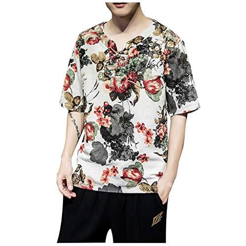 Luckycat Herren Hemd Leinen V-Ausschnitt Kurzarm Button Leinenhemd Sommer Regular Fit Freizeithemd Casual T-Shirt Herren Kurzarm Leinen Hemd Henley Kurzarm Hemd T-Shirt Freizeit Hemden Sommer Hemd