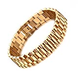 Heyrock Men's Strap Type Gold Chunky Chain Bracelets Bangles Stainless Steel Male Jewelry
