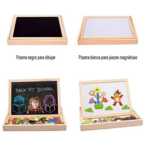 InnooBaby 100 Piezas Rompecabezas Magnéticos Juguete Educativo Dibujo Placa de Madera Pizarra Blanca y Negro Multifuncional para Niños Más de 3 Años