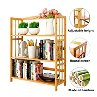 Bamboo Book Shelf Bookcase Books Shelves Storage Display Rack Organizer 3 Tier Adjustable Height for Bedroom Living Room Study Room Office Kitchen 90 x 25x 96cm