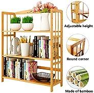Bamboo Book Shelf Bookcase Books Shelves Storage Display Rack Organizer 3 Tier Adjustable Height for Bedroom L