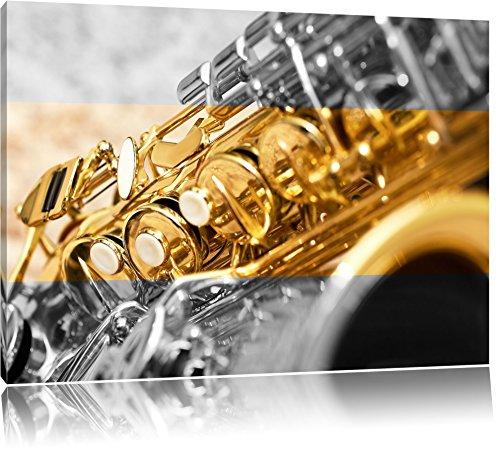 chatoyant saxophone noir / blanc Taille: 100x70 sur toile, XXL énormes Photos complètement encadrées avec civière, impression d'art sur murale avec cadre, moins cher que la peinture ou la peinture à l'huile, pas une affiche ou une bannière,