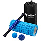 Finether Massage Yoga Roller Set-Foam Roller, Spiky Ball, Roller Stick, Lacrosse Ball Per Myofascial Release Massaggio Muscolare Tessuto Profondo Trigger Point Digitopressione Fascite Plantare Riflessologia Stress, Blu