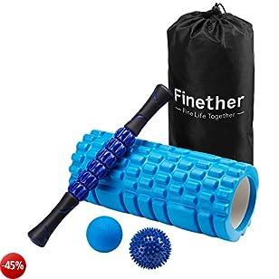 Finether Massage Yoga Roller Set-Foam Roller, Spiky Ball, Roller Stick, Lacrosse Ball Per Myofascial Release Massaggio Muscolare Tessuto Profondo Trigger Point Digitopressione Fascite Plantare Riflessologia Stress, Blu