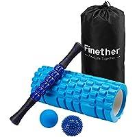 Finether-Rodillo de Espuma para Masaje Muscular kit de Masajeador Bola de Masaje Rodillo de Palo para Masaje, Azul - Cosmética y perfumes - Comparador de precios