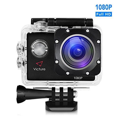 Victure Action Kamera 12MP 1080P FHD Unterwasserkamera Wasserdichte Helmkamera mit 170 Weitwinkel, 1050mAh Akku und Zubehor Kitt fur Tauchen, Schwimmen, Motorrad fahren und Fahrrad fahren