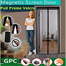 """Magnetic Screen Door, Carryme Heavy Duty Top to Bottom Ultra Seal Magnets Shut Automatically Instant Bug Door Mesh Curtain and Full Frame Velcro, Easy Installation No Gap Guard Protective Net Netting, Fits Door Size up to 34""""-82"""" Max with Highly Effective Insect Mosquito Wasp Bee Moth Flies Fly Repellent Bands"""