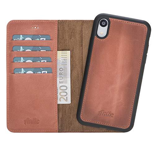 Antic Case 2in1 Leder Wallet für iPhone XR magnetisch, abnehmbar mit RFID-Blocker und Lederhülle QI-Fähig rot braun -