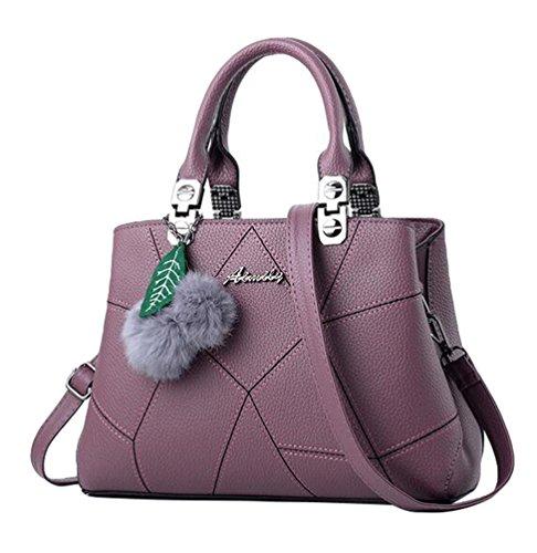 Baymate Frauen Umhängetasche Handtasche Satchel Messenger Tasche mit Pompon-Anhänger Dunkel Violett