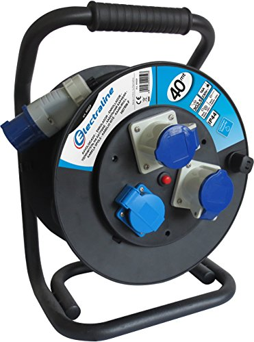 Electraline 49059, Kabeltrommel Industriel H07 RN-F 3G2,5 40 m Kabel - IP44 Outdoor/Kabelrolle mit Gummiverlängerung, 2 Industrie-Kaltgerätesteckdosen 3-poliger Stecker geeignet + 1 Schuko-Steckdose