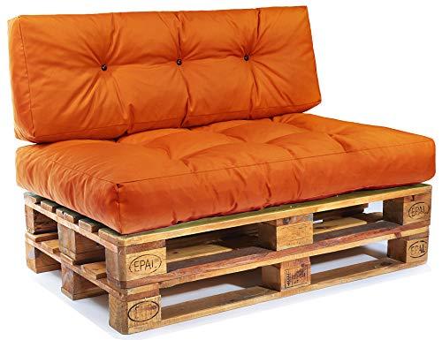 Easysitz Palettenkissen Set Palettensofa Palettenpolster Palettenauflagen Sofa Kissen Polster Auflage Indoor Outdoor Gesteppt für 120 x 80 cm Europaletten (Set 1: Sitzkissen + Rückenkissen - Orange) -