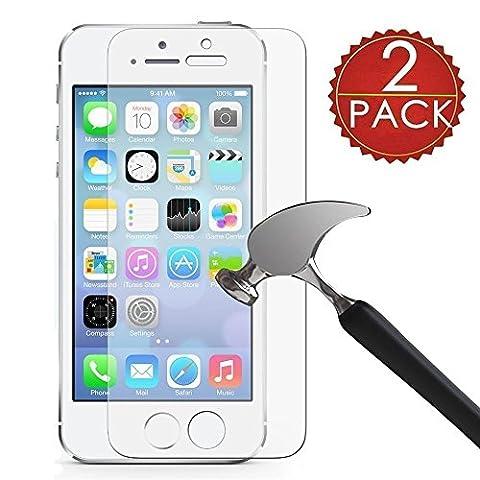 [2 Stück] CÄSAR-GLAS Panzerglas Schutzglas für Apple iPhone 5 / 5S, Anti-Kratzen, Anti-Öl, Anti-Bläschen, 9H Echt Glas Panzerfolie (Glas Iphone)