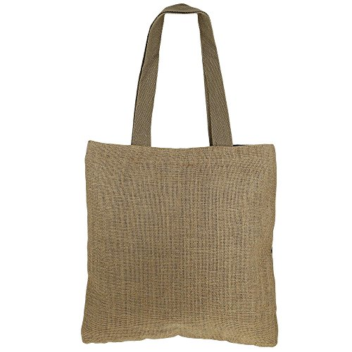 Swayam Shimmer Naturfaser Jute-Einkaufstasche mit Goldfolie Grafik mit gestepptem gepolstertes Innenfutter Multi-37