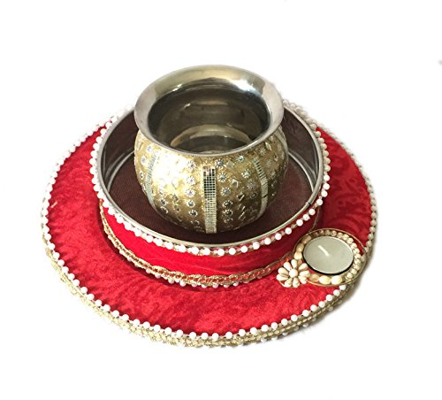 Loops n Knots Karva Chauth Pooja Thali Set Red for Vrat Poojan & Temple