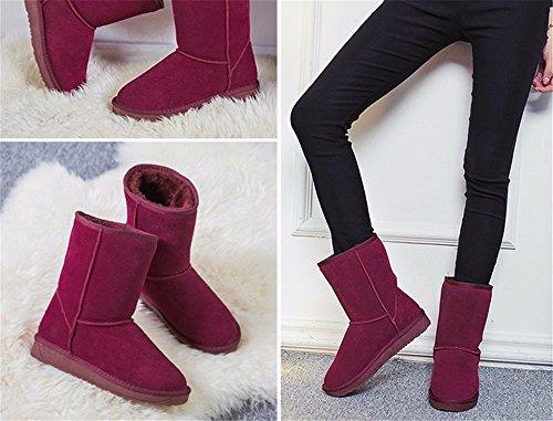FLYRCX Gli uomini e le donne in autunno e in inverno scarponi da neve spessa opaca caldo scarpe di cuoio vai a casa G