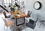 Sit Möbel Esstisch aus Akazie Massivholz mit Baumkante Stahlgestell Schwarz Nussbaum 160x85 cm