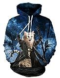 KamiraCoco Herren Kapuzenpullover 3D Druck Muster Hoodie Weihnachten Halloween Sweatshirt Pullover (S/M, Hobbit-Katze)